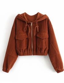 Fashion Red-brown Corduroy Hooded Panelled Jacket Top