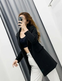Fashion Black Small Suit Jacket With A Buckle Pin