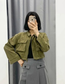 Fashion Army Green Short Jacket With Stitching Lapel