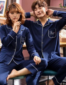 Fashion Alphabet Royal Blue Printed Cotton Long-sleeved Home Service Suit Couple Pajamas Women