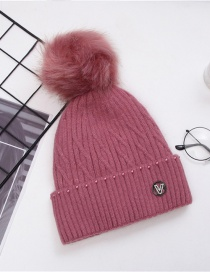 Fashion Skin Red Wool Ball Letter Mark Knitted Woolen Hat