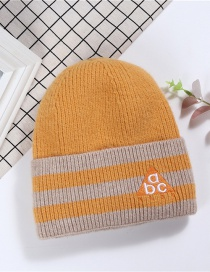 Fashion Turmeric Dome Plain Weave Breathable Letters Embroidery Knit Hat Hat