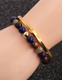 Fashion Two-piece Suit 8mm Tiger Eye Diamond Ball Stainless Steel C-shaped Twisted Open Bracelet