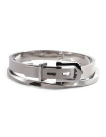 Fashion Two-piece Solid Color Stainless Steel Adjustable C-shaped Twisted Twist Open Bracelet