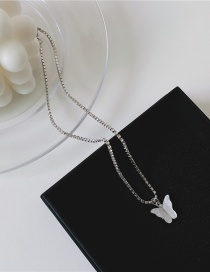 Fashion Butterfly Alloy Necklace With Diamond And Butterfly Letters