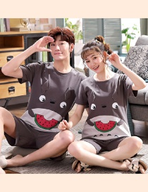 Fashion Watermelon Printed Cotton Short-sleeved Thin Home Service Suit Couple Pajamas Men