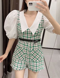 Fashion Green Woolen Belt Plaid Puff Sleeve V-neck Jumpsuit