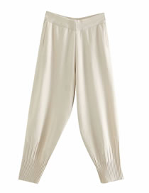 Fashion Beige Cropped Trousers In Knitted Core-spun Yarn