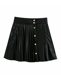 Fashion Black Faux Pu Leather Pleated Single-breasted Skirt