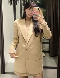 Fashion Apricot Solid Color Double-breasted Loose Blazer Top