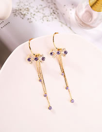 Fashion Taro Purple Long Alloy Earrings With Bow And Diamonds