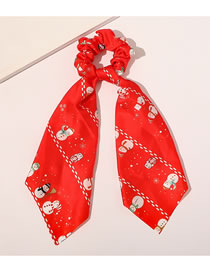 Fashion Red Christmas Fabric Printing Triangle Streamer Large Intestine Ring Hair Rope