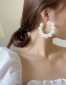 Fashion White Hand-woven Pearl Round Earrings