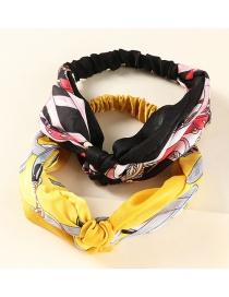 Fashion Black Yellow Checked Geometric Printed Fabric Knotted Headband Set