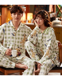 Fashion Puppy Printed Cotton Long-sleeved Thin Cardigan Home Wear Couple Pajamas Men