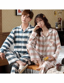 Fashion Plaid Printed Long-sleeved Thin Home Service Suit Cotton Couple Pajamas Men