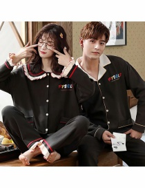 Fashion Alphabet Black Printed Cardigan Cotton Long-sleeved Thin Home Service Suit Couple Pajamas Men
