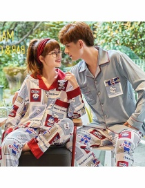 Fashion Fujiya Printed Cardigan Cotton Long-sleeved Thin Home Service Suit Couple Pajamas Men