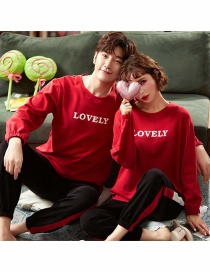 Fashion Letter Round Neck Printed Cotton Long-sleeved Couple Home Service Suit Men