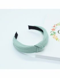 Fashion Blue Knotted Cotton Knit Headband In The Middle Of The Head Buckle
