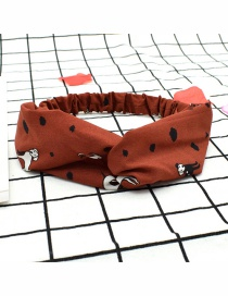 Fashion Red Coffee Color Dog Puppy Print Cross Elastic Headband