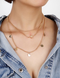 Fashion Gold Color Astral Disc Alloy Multilayer Necklace