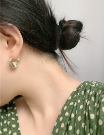 Fashion Gold Color Small Round Cake Real Gold Plated Hollow Earrings