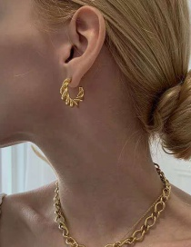 Fashion Gold Color Small Circle Hollow Horn Earrings