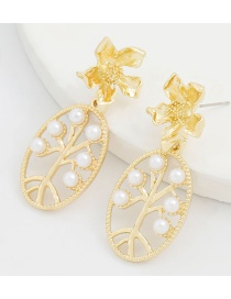 Fashion Gold Color Metal Inlaid Pearl Flower Geometric Hollow Earrings