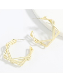Fashion Gold Color Multilayer Square Alloy Layered Geometric Earrings