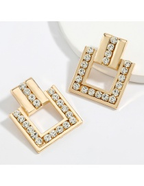 Fashion Gold Color Square Alloy Diamond And Acrylic Earrings