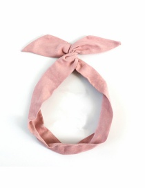 Fashion Pink Suede Solid Color Rabbit Ears Iron Wire Cross Headband