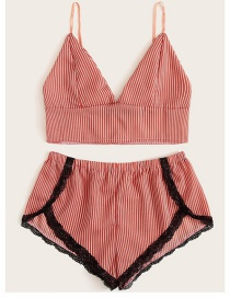 Red Two-piece Striped Lace Bra Pajamas