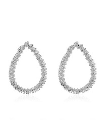 Fashion Alloy Alloy Plating Hollow Oval Earrings