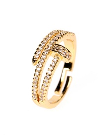 Fashion Gold Color Copper Gold Plated Micro Inlaid Zircon Nail Open Ring