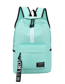 Fashion Lake Blue Canvas Letter Print Backpack