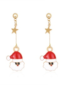 Fashion Color Dripping Santa Claus Alloy Pentagram Earrings