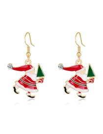 Fashion Color Dripping Santa Claus Diamond Alloy Earrings