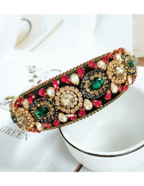 Fashion Color Handmade Geometric Wide-brimmed Headband With Full Diamonds