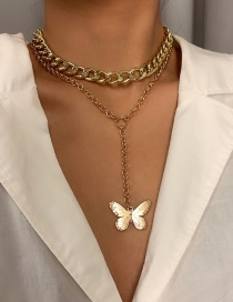 Fashion Gold Color Alloy Butterfly Thick Chain Tassel Multilayer Necklace