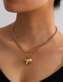 Fashion Gold Color Love Thick Chain Alloy Necklace