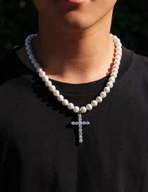 Fashion White K Pearl And Diamond Cross Pendant Necklace