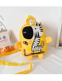 Fashion Zebra Yellow Giraffe And Zebra Stitching Print Kids Backpack