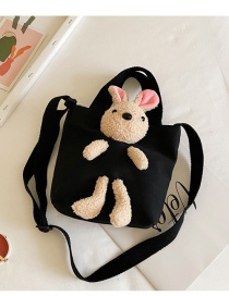 Fashion Black Canvas Rabbit Doll Childrens One-shoulder Messenger Bag