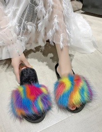 Fashion Color Furry Hit Color One-line Home Indoor Cotton Slippers