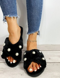 Fashion Black Pearl Cross Warm In-line Fur Shoes