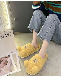 Fashion Yellow Bear Plush Home Indoor Cotton Slippers