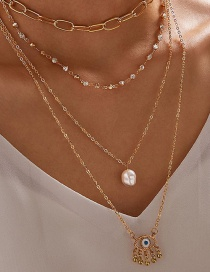 Fashion Gold Color Diamond Pearl Eye Hollow Alloy Multilayer Necklace
