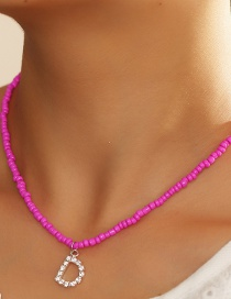 Fashion Rose Red-d Rice Bead Beaded Diamond Letter Alloy Necklace