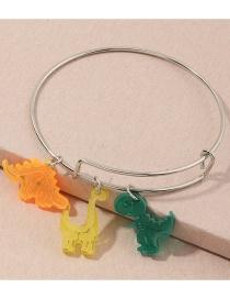 Fashion Color Mixing Resin Dinosaur Hit Color Alloy Bracelet